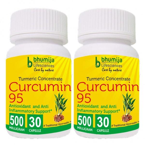 Bhumija Lifesciences Curcumin with Piper Nigram (Curcuma Longa) 30's Capsules (Pack of Two)