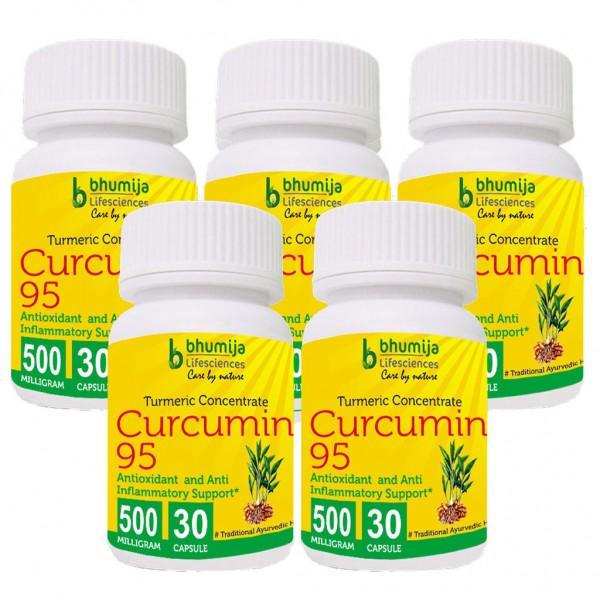 Bhumija Lifesciences Curcumin with Piper Nigram (Curcuma Longa) 30's Capsules (Pack of Five)