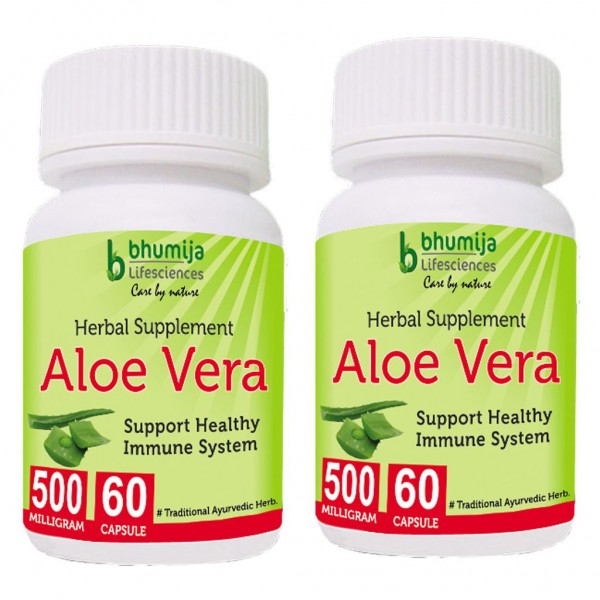 Bhumija Lifesciences Aloevera Capsules 60's (Pack of Two)