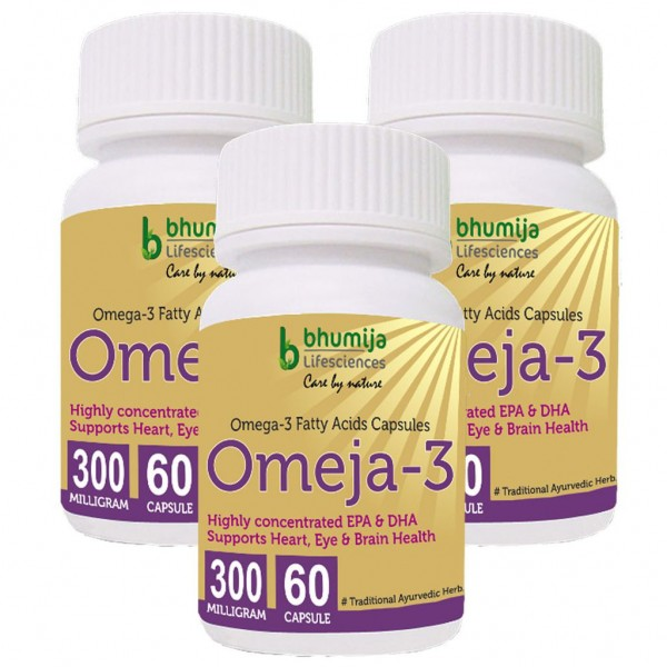 Bhumija Lifesciences Omega3 Fatty Acids (Omeja3) Capsules 60's (Pack of Three)