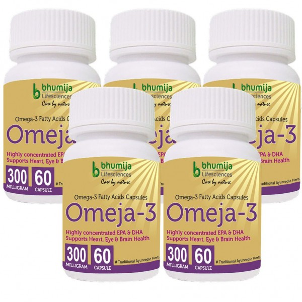 Bhumija Lifesciences Omega3 Fatty Acids (Omeja3) Capsules 60's (Pack of Five)