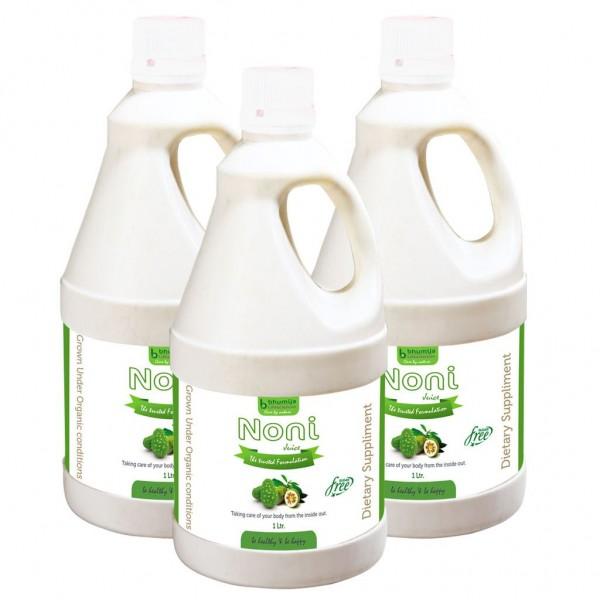 Bhumija Lifesciences Noni Juice (Sugar Free) 1 Ltr. (Pack of Three)