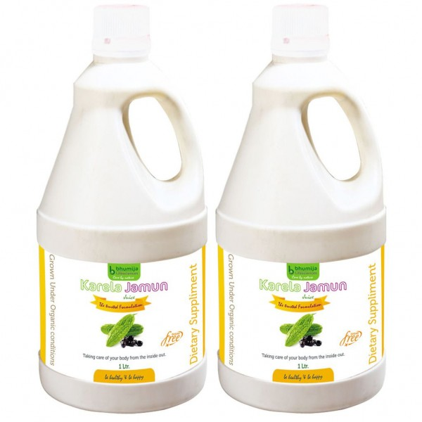 Bhumija Lifesciences Karela Jamun Juice (Sugar Free) 1 Ltr. (Pack of Two)