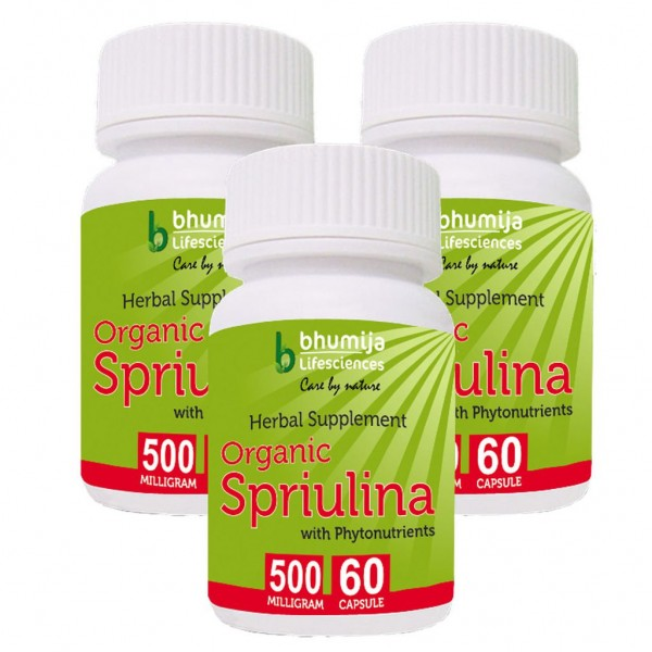 Bhumija Lifesciences Organic Spirulina Capsules 60's  (Pack of Three)