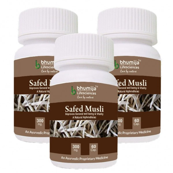 Bhumija Lifesciences Safed Musli Capsules 60's (Pack of three)