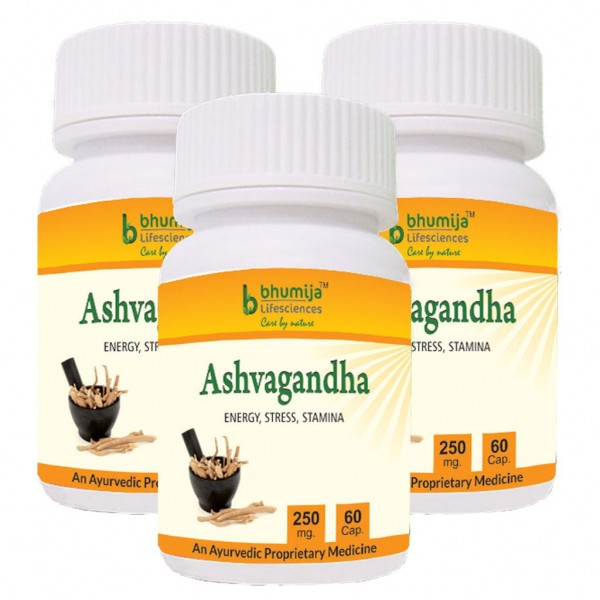 Bhumija Lifesciences Ashvagandha Capsules 60's (Pack of Three)