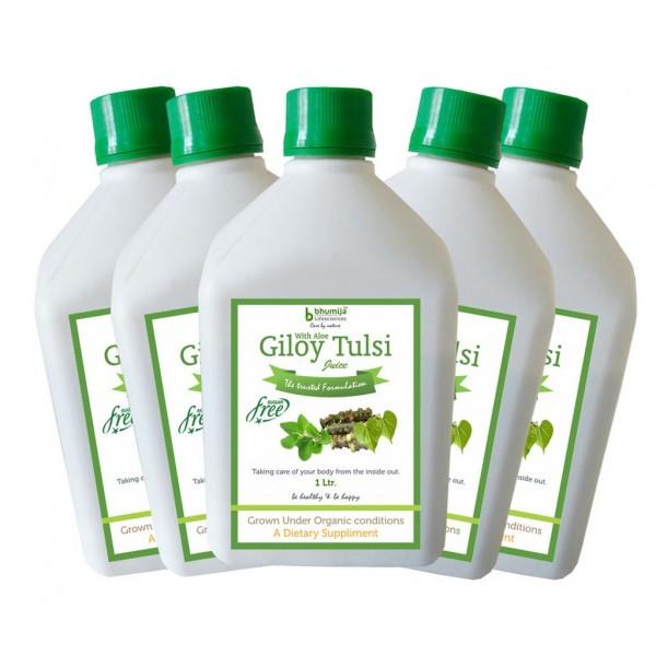Bhumija Lifesciences Giloy Tulsi Juice (Sugar Free) 1 Ltr.(Pack of Five)
