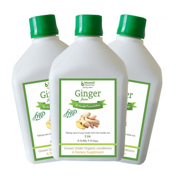 Bhumija Lifesciences Ginger Juice (Sugar Free) 1 Ltr.(Pack of Three)