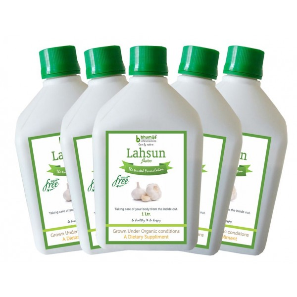 Bhumija Lifesciences Lahsun Juice (Sugar Free) 1 Ltr.(Pack of Five)