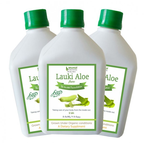Bhumija Lifesciences Lauki Aowevera Juice (Sugar Free) 1 Ltr.(Pack of Three)