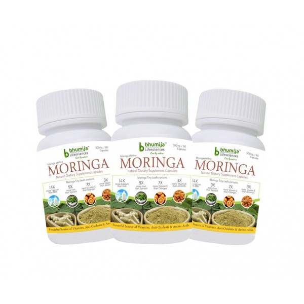 Bhumija Lifesciences Moringa Oliefera Capsules (Pack of Three)