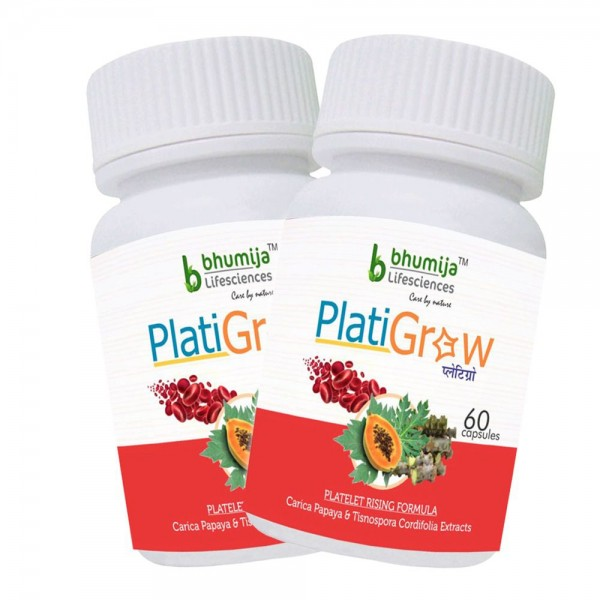 Bhumija Lifesciences PlatiGrow Capsules 60's (Carica Papaya, Tinospora Cordifolia) (Pack of Two)