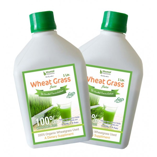 Bhumija Lifesciences Plain Wheat Grass Juice (Sugar Free) 1 Ltr. (Pack of Two)