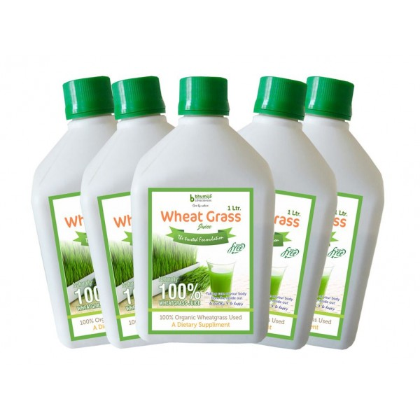 Bhumija Lifesciences Plain Wheat Grass Juice (Sugar Free) 1 Ltr. (Pack of Five)