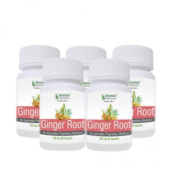 Bhumija Lifesciences Ginger Root Capsules 60's (Pack of Five)