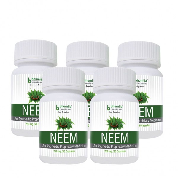 Bhumija Lifesciences Neem Capsles 60's  (Pack of Five)