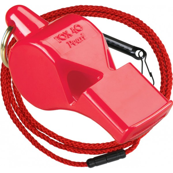 Fox 40 Pearl Safety Whistle with Lanyard Red
