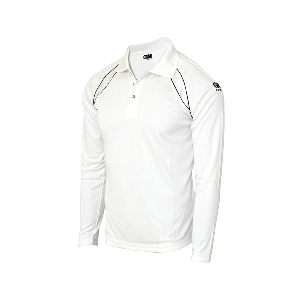 GM 7205 (White With Navy Trim) Full Sleeve Cricket Tshirt