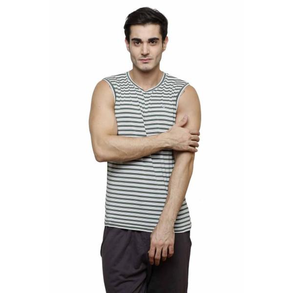 Gypsum Mens Striper Cut Sleeve Tshirt Green Color GYPMCS-00162