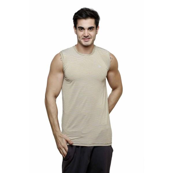 Gypsum Mens Striper Cut Sleeve Tshirt Beige Color GYPMCS-00171