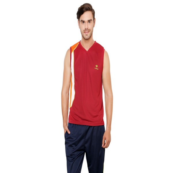 Gypsum Mens Cut Sleeve Tshirt Maroon Color GYPMCS-01