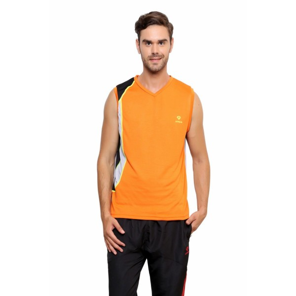 Gypsum Mens Round Neck Sleeveless Tshirt Orange Color GYPMCS-030