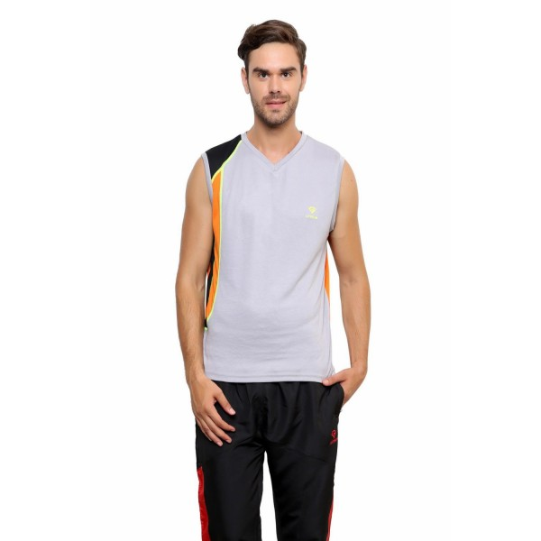 Gypsum Mens Round Neck Sleeveless Tshirt Lt Grey Color GYPMCS-031