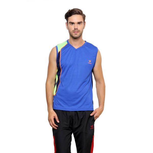 Gypsum Mens Round Neck Sleeveless Tshirt Royal Blue Color GYPMCS-032