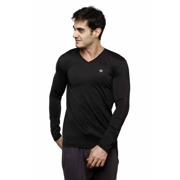 Gypsum Mens Lycra Full Sleeve V-Neck Tshirt Black Color GYPMFST-00167