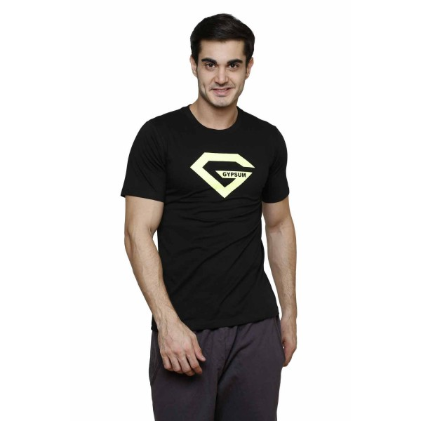 Gypsum Mens Printed Round Neck Tshirt Black Color GYPMRN-00156