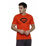 Gypsum Mens Printed Round Neck Tshirt Orange Color GYPMRN-00157