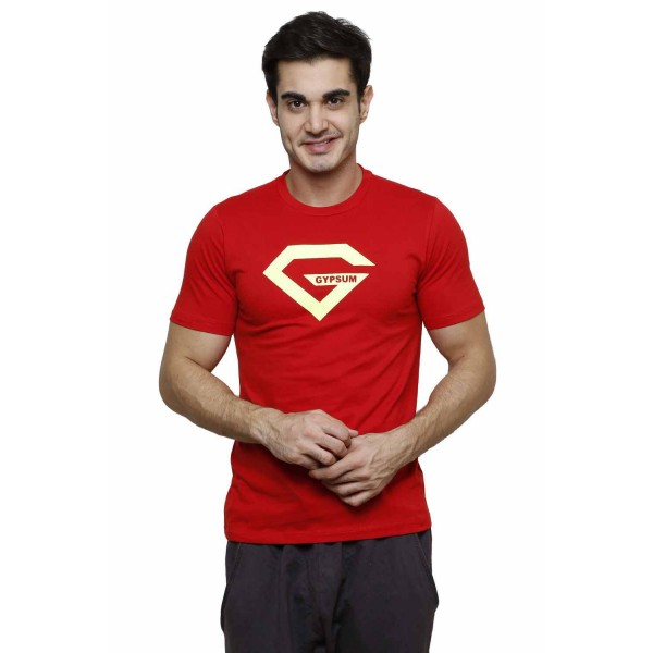 Gypsum Mens Printed Round Neck Tshirt Red Color GYPMRN-00160
