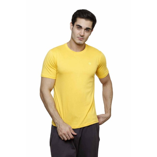 Gypsum Mens Basic Round Neck Tshirt Yellow Color GYPMRN-00164