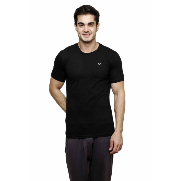 Gypsum Mens Basic Round Neck Tshirt Black Color GYPMRN-00166