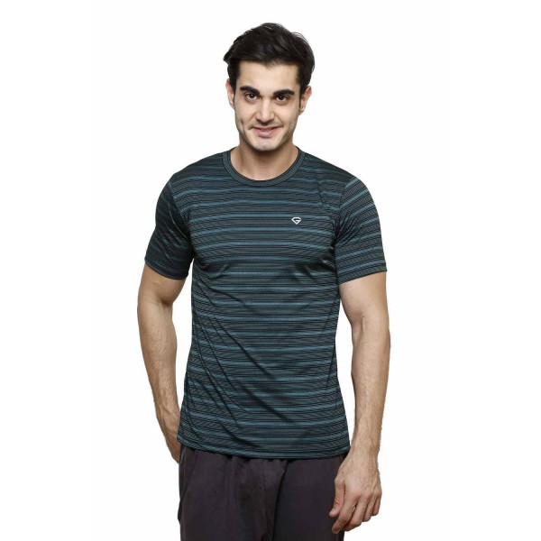 Gypsum Mens Striper Round Neck Tshirt Black Color GYPMRN-00168