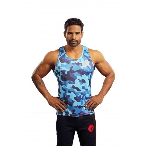 Omtex Gym Tank Camo Blue