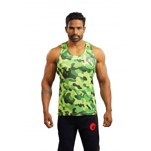 Omtex Gym Tank Camo Green