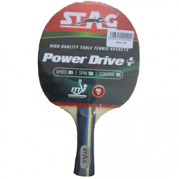 STAG Power Drive with Wooden Case with I.T.T.F. Authorised Rubber Table Tennis Racket