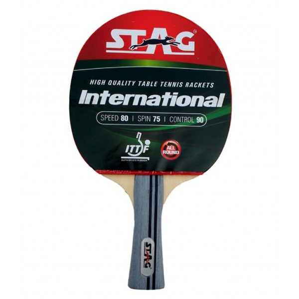 STAG International with Racket Case with I.T.T.F. Authorised Rubber Table Tennis Racket
