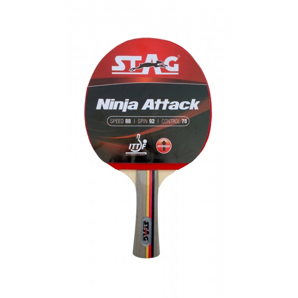 STAG Ninja Attack with I.T.T.F. Authorised Rubber Table Tennis Racket
