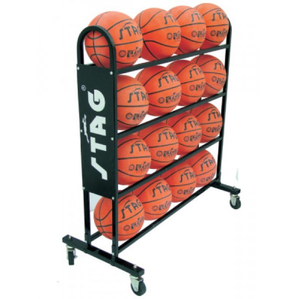 STAG Basketball Trolley for 16 Balls