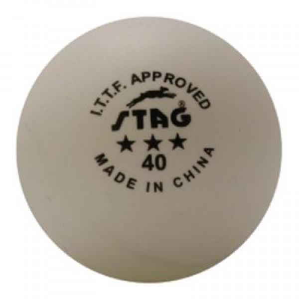 STAG Table Tennis Ball Three Star White ITTF Approved (Per Dozen)