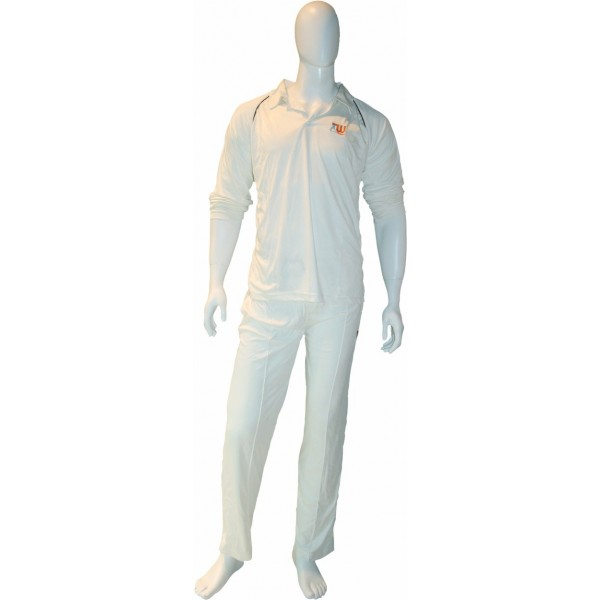 Three Wickets Solid Men Cricket White Dress (XL)