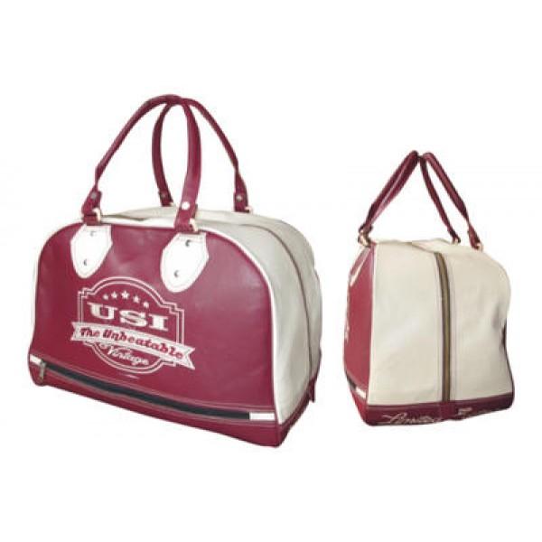 USI 562V Vintage Holdall Bag (Maroon/White)