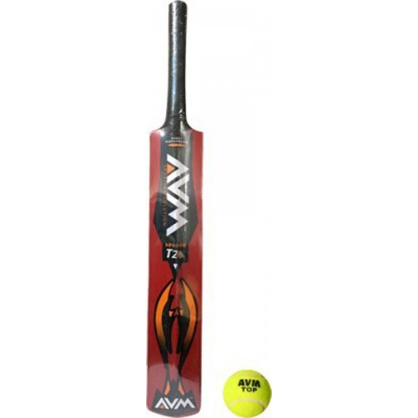 AVM Splash 20-20 Red Kashmir Willow Cricket Bat (With Tennis Ball)