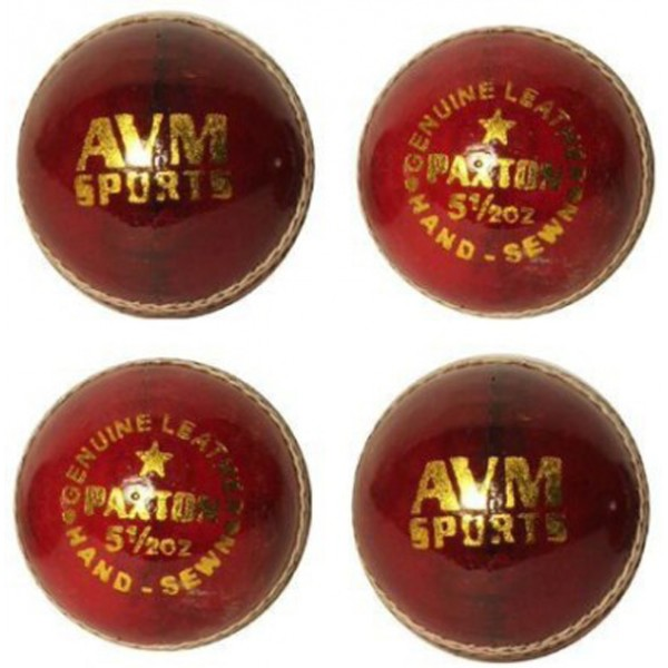 AVM Paxton Red Cricket Ball (Pack of 4)