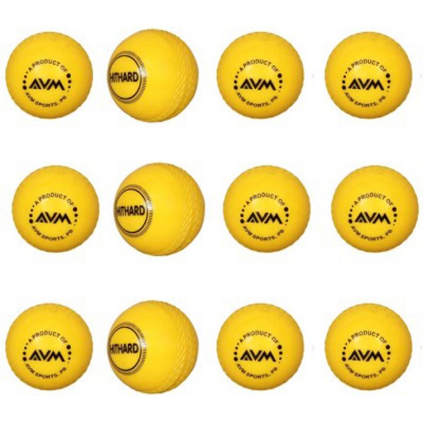 AVM Yellow Wind Cricket Ball (Pack of 12)