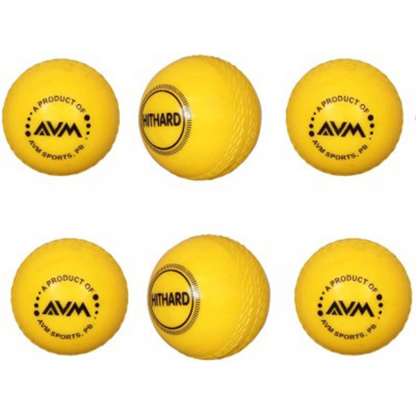 AVM Yellow Wind Cricket Ball (Pack of 6)