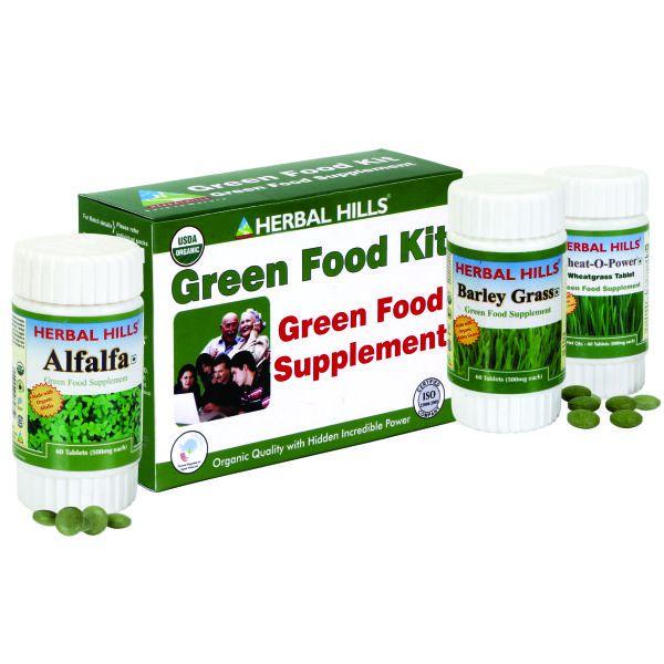 Herbal Hills Green Food Supplement Kit (Wheatgrass, Alfalfa, Barley Grass)