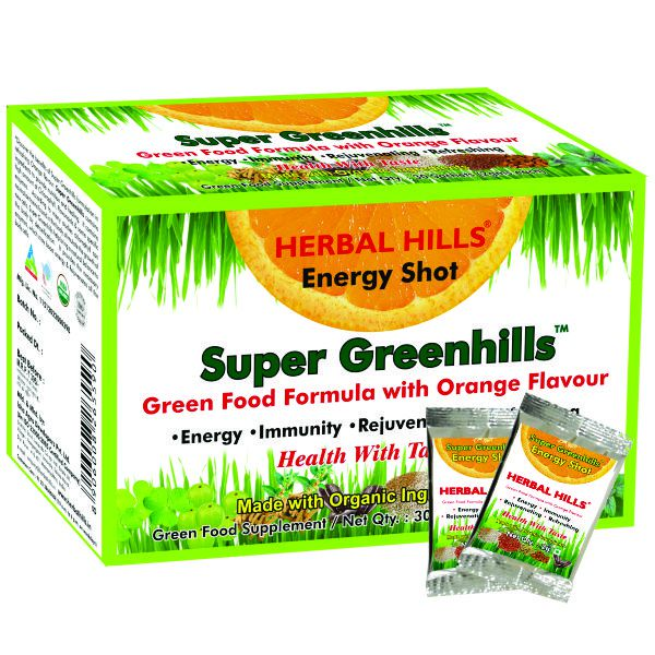 Herbal Hills Super Greenhills Orange Flavour 2G X 30 Sachets Powder